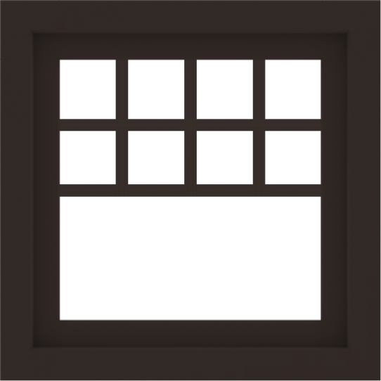 WDMA 24x24 (23.5 x 23.5 inch) Dark Bronze Aluminum Picture Window with Top Colonial Grids