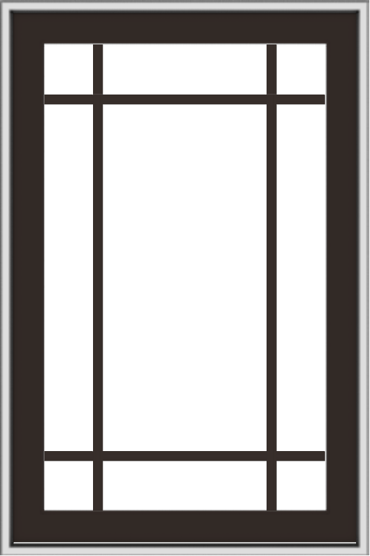 WDMA 24x36 (23.5 x 35.5 inch) Dark Bronze aluminum Push out Awning Window with Prairie Grilles
