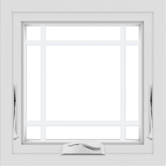 WDMA 24x24 (23.5 x 23.5 inch) White uPVC/Vinyl Crank out Awning Window with Prairie Grilles