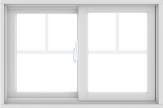 WDMA 36X24 (35.5 x 23.5 inch) White uPVC/Vinyl Sliding Window with Fractional Grilles