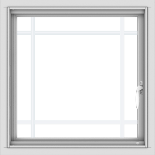 WDMA 24x24 (23.5 x 23.5 inch) White uPVC/Vinyl Push out Casement Window with Prairie Grilles