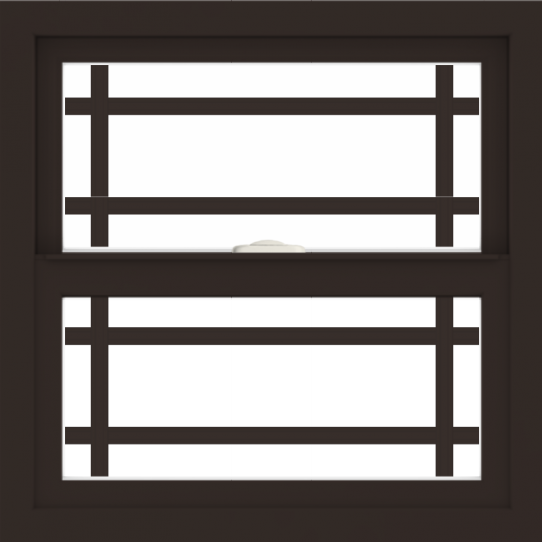 WDMA 24x24 (23.5 x 23.5 inch) Dark Bronze Aluminum Single and Double Hung Window with Prairie Grilles