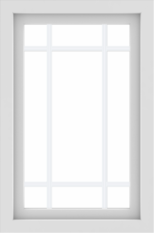 WDMA 24x36 (23.5 x 35.5 inch) White uPVC/Vinyl Picture Window with Prairie Grilles