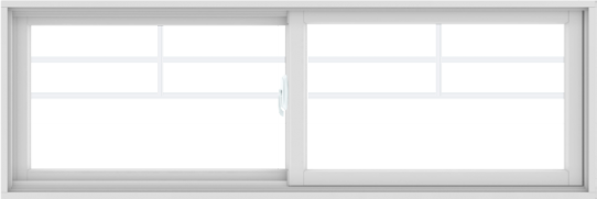 WDMA 72X24 (71.5 x 23.5 inch) White uPVC/Vinyl Sliding Window with Top Colonial Grids Grilles