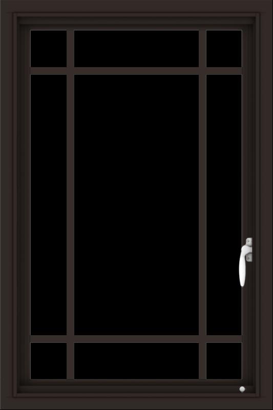 WDMA 24x36 (23.5 x 35.5 inch) Dark Bronze aluminum Push out Casement Window with Prairie Grilles