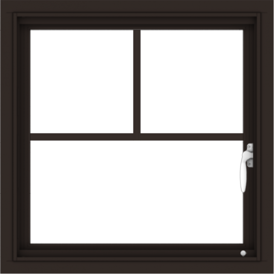 WDMA 24x24 (23.5 x 23.5 inch) Dark Bronze Aluminum Push out Casement Window with Fractional Grilles