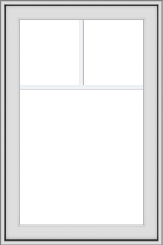 WDMA 24x36 (23.5 x 35.5 inch) black uPVC/Vinyl Push out Awning Window with Fractional Grilles Interior