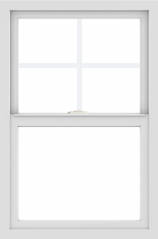 WDMA 24x36 (24.5 x 36.5 inch) White uPVC/Vinyl Single and Double Hung Window with Top Colonial Grids