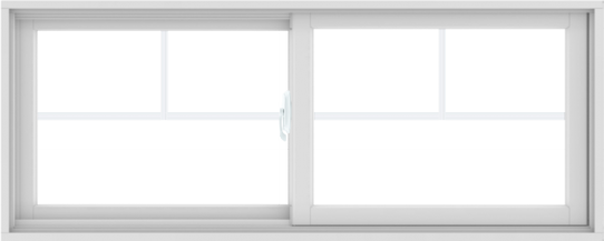 WDMA 60X24 (59.5 x 23.5 inch) White uPVC/Vinyl Sliding Window with Fractional Grilles