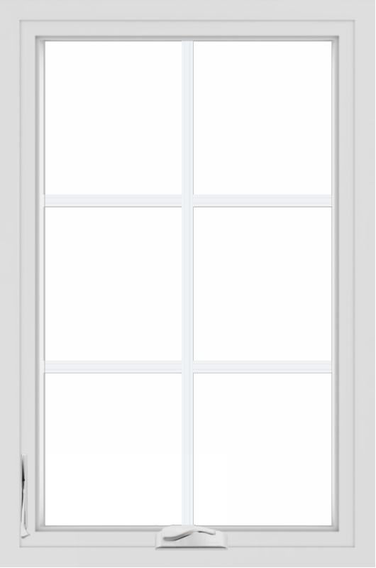 WDMA 24x36 (23.5 x 35.5 inch) White aluminum Crank out Casement Window with Colonial Grilles
