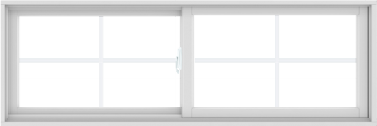 WDMA 72X24 (71.5 x 23.5 inch) White uPVC/Vinyl Sliding Window with Colonial Grilles