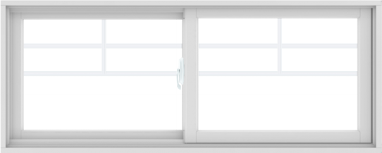 WDMA 60X24 (59.5 x 23.5 inch) White uPVC/Vinyl Sliding Window with Top Colonial Grids Grilles