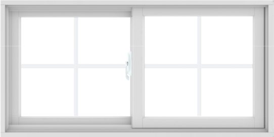 WDMA 48X24 (47.5 x 23.5 inch) White uPVC/Vinyl Sliding Window with Colonial Grilles