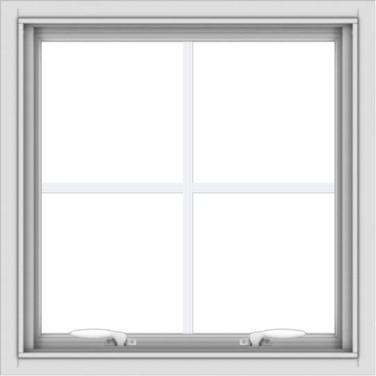 WDMA 24x24 (23.5 x 23.5 inch) White Aluminum Push out Awning Window with Colonial Grilles
