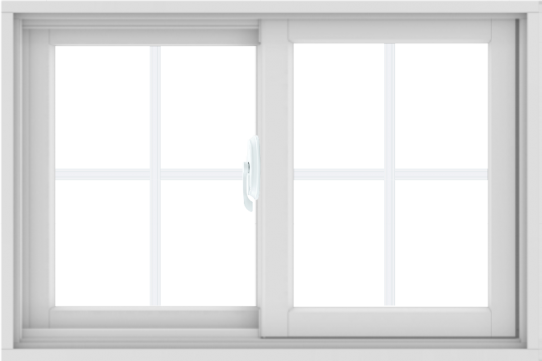 WDMA 36X24 (35.5 x 23.5 inch) White uPVC/Vinyl Sliding Window with Colonial Grilles