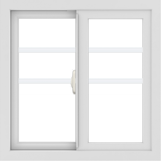 WDMA 24x24 (23.5 x 23.5 inch) White uPVC/Vinyl Slide Window with Top Colonial Grids
