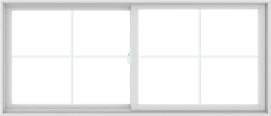 WDMA 84X36 (83.5 x 35.5 inch) White uPVC/Vinyl Sliding Window with Colonial Grilles