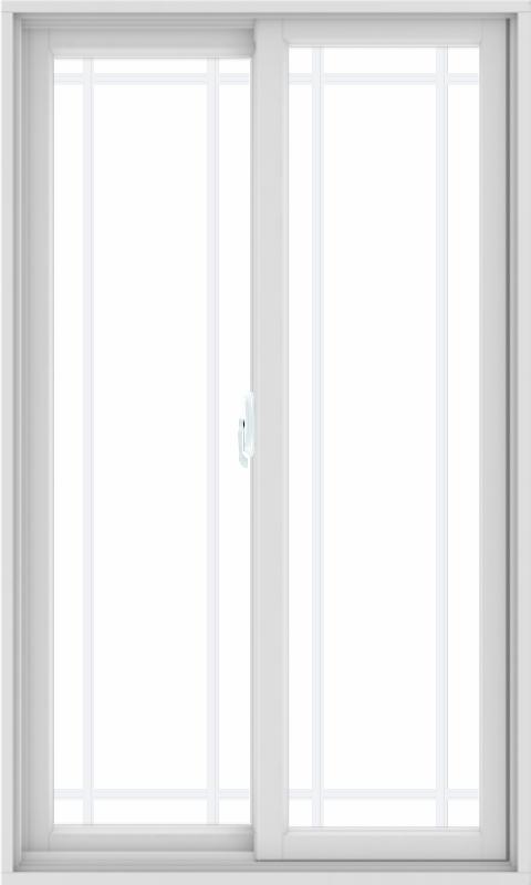 WDMA 36X60 (35.5 x 59.5 inch) White uPVC/Vinyl Sliding Window with Prairie Grilles