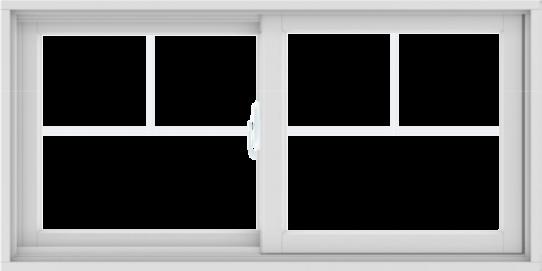 WDMA 48X24 (47.5 x 23.5 inch) White uPVC/Vinyl Sliding Window with Fractional Grilles