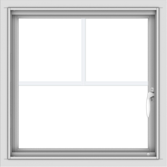 WDMA 24x24 (23.5 x 23.5 inch) White uPVC/Vinyl Push out Casement Window with Fractional Grilles