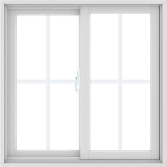 WDMA 36X36 (35.5 x 35.5 inch) White uPVC/Vinyl Sliding Window with Colonial Grilles