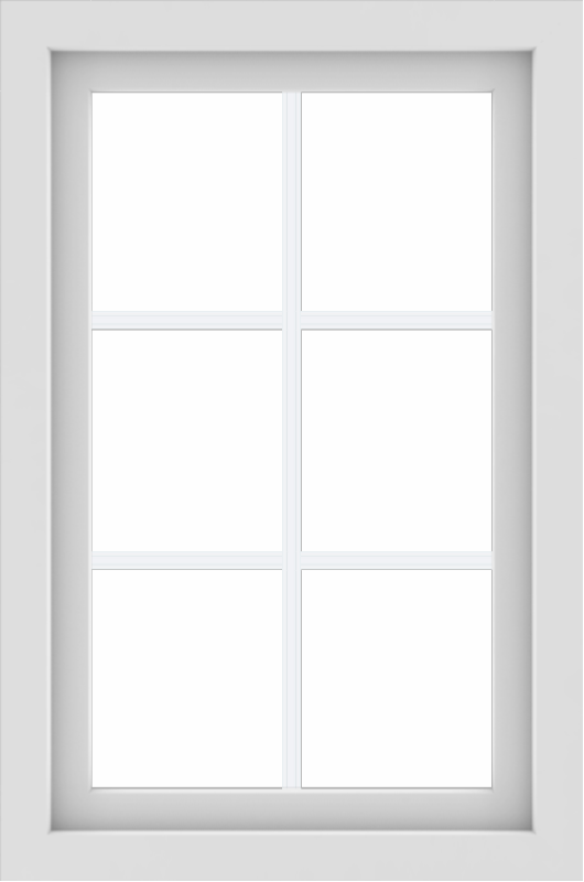 WDMA 24x36 (23.5 x 35.5 inch) White uPVC/Vinyl Picture Window with Colonial Grilles