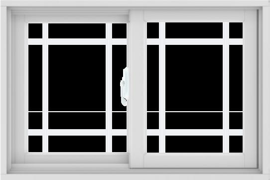 WDMA 36X24 (35.5 x 23.5 inch) White uPVC/Vinyl Sliding Window with Prairie Grilles
