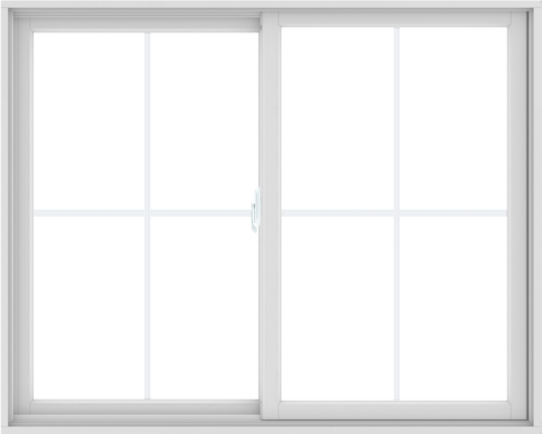 WDMA 60X48 (59.5 x 47.5 inch) White uPVC/Vinyl Sliding Window with Colonial Grilles