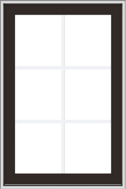 WDMA 24x36 (23.5 x 35.5 inch) Dark Bronze aluminum Push out Awning Window with Colonial Grilles
