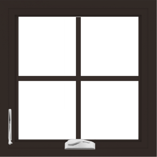 WDMA 24x24 (23.5 x 23.5 inch) Dark Bronze Aluminum Crank out Casement Window with Colonial Grilles