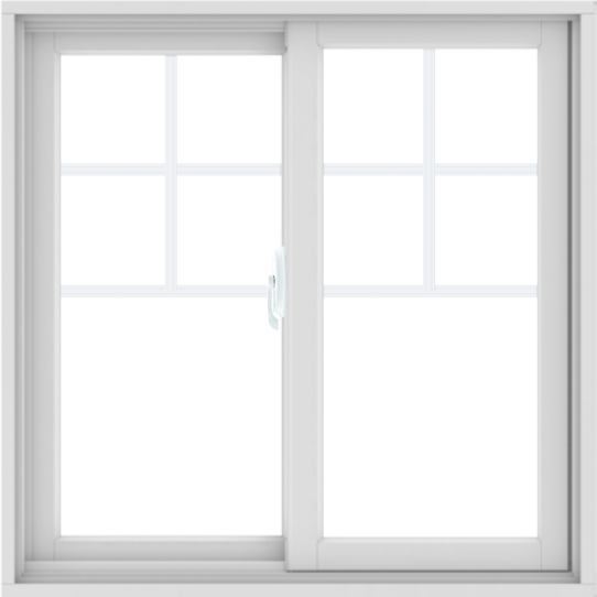 WDMA 36X36 (35.5 x 35.5 inch) White uPVC/Vinyl Sliding Window with Top Colonial Grids Grilles