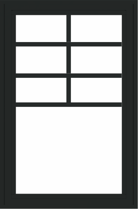 WDMA 24x36 (23.5 x 35.6 inch) black uPVC/Vinyl Crank out Casement Window with Top Colonial Grids Exterior