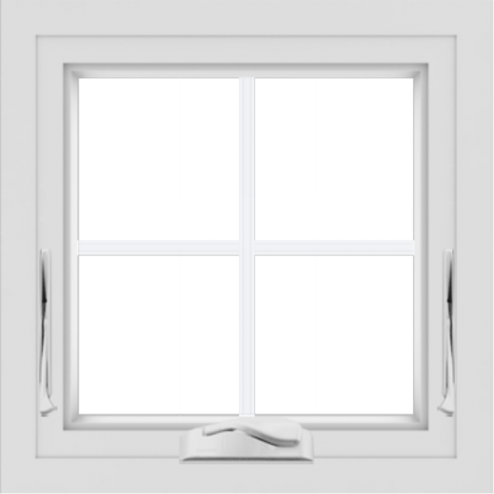 WDMA 24x24 (23.5 x 23.5 inch) White uPVC/Vinyl Crank out Awning Window with Colonial Grilles