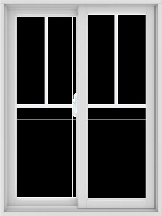 WDMA 36X48 (35.5 x 47.5 inch) White uPVC/Vinyl Sliding Window with Fractional Grilles