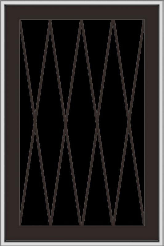 WDMA 24x36 (23.5 x 35.5 inch) Dark Bronze aluminum Push out Awning Window with Diamond Grids