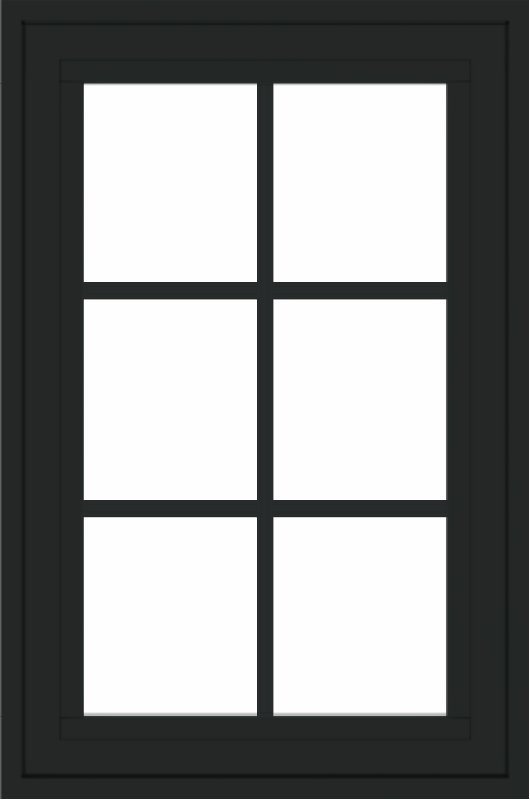 WDMA 24x36 (23.5 x 35.6 inch) black uPVC/Vinyl Crank out Awning Window with Colonial Grilles Exterior