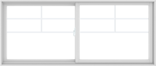 WDMA 84X36 (83.5 x 35.5 inch) White uPVC/Vinyl Sliding Window with Top Colonial Grids Grilles