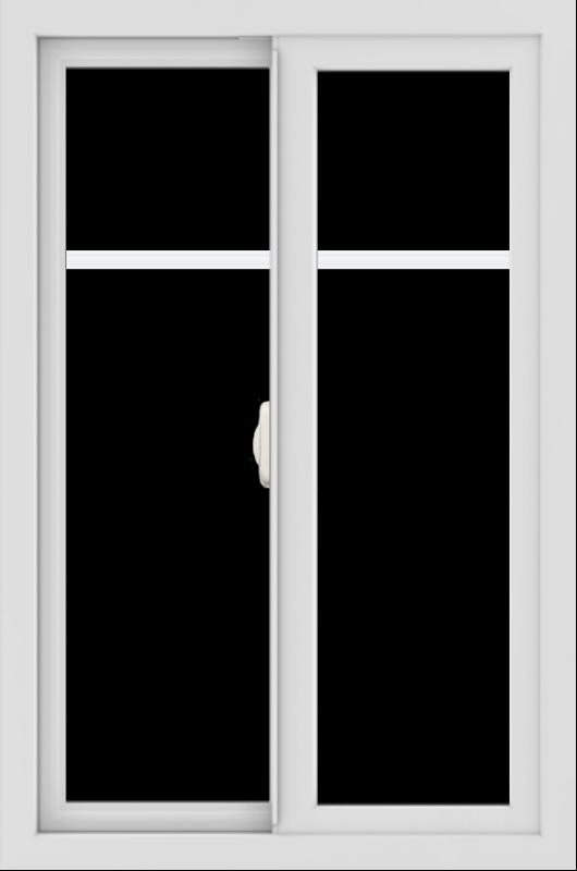 WDMA 24x36 (23.5 x 35.5 inch) black uPVC/Vinyl Slide Window with Fractional Grilles Interior
