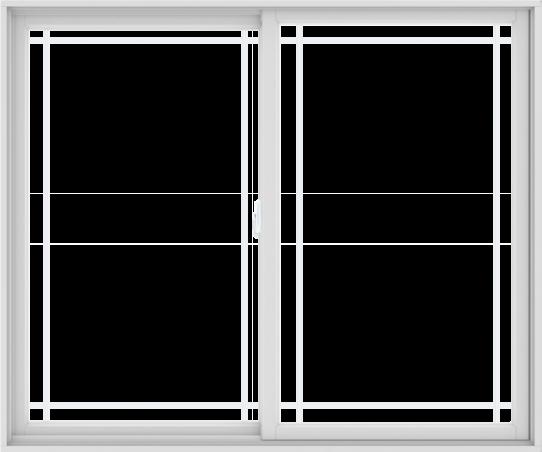WDMA 72X60 (71.5 x 59.5 inch) White uPVC/Vinyl Sliding Window with Prairie Grilles