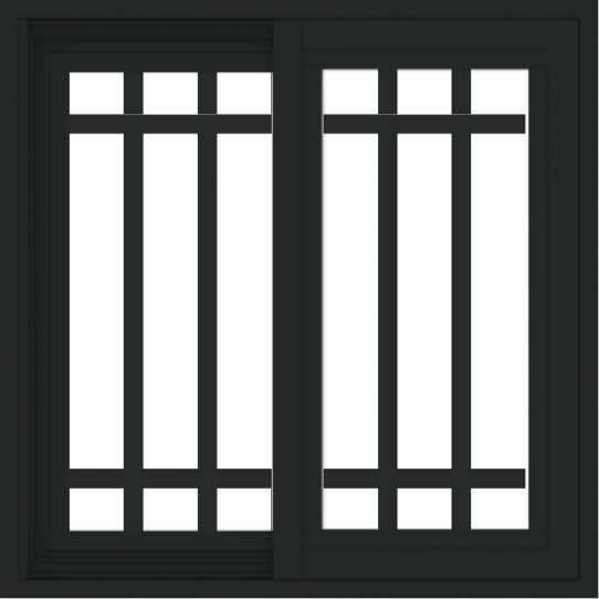 WDMA 24x24 (23.5 x 23.5 inch) black uPVC/Vinyl Slide Window with Top Colonial Grids Interior