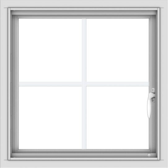 WDMA 24x24 (23.5 x 23.5 inch) White uPVC/Vinyl Push out Casement Window with Colonial Grilles