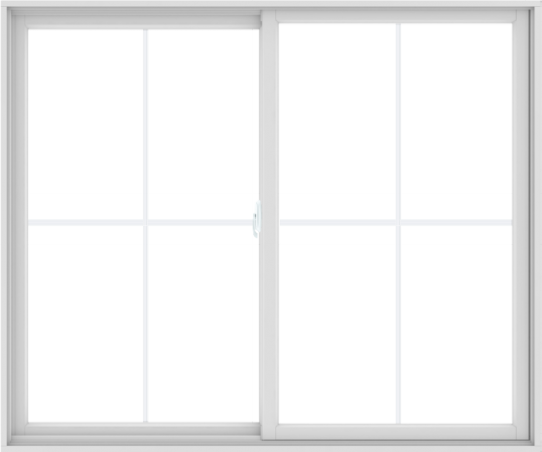 WDMA 72X60 (71.5 x 59.5 inch) White uPVC/Vinyl Sliding Window with Colonial Grilles