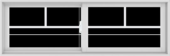 WDMA 72X24 (71.5 x 23.5 inch) White uPVC/Vinyl Sliding Window with Fractional Grilles
