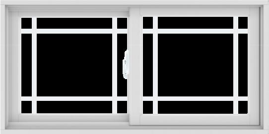 WDMA 48X24 (47.5 x 23.5 inch) White uPVC/Vinyl Sliding Window with Prairie Grilles