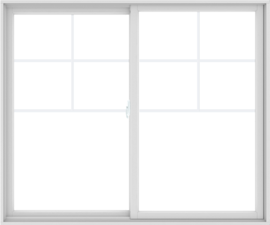 WDMA 72X60 (71.5 x 59.5 inch) White uPVC/Vinyl Sliding Window with Top Colonial Grids Grilles