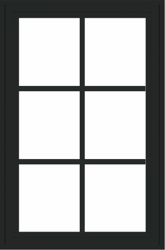 WDMA 24x36 (23.5 x 35.6 inch) black uPVC/Vinyl Crank out Casement Window with Colonial Grilles Interior