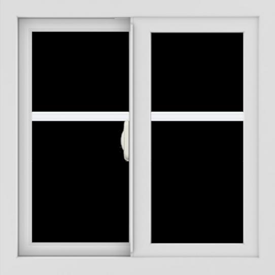 WDMA 24x24 (23.5 x 23.5 inch) black uPVC/Vinyl Slide Window with Fractional Grilles Interior