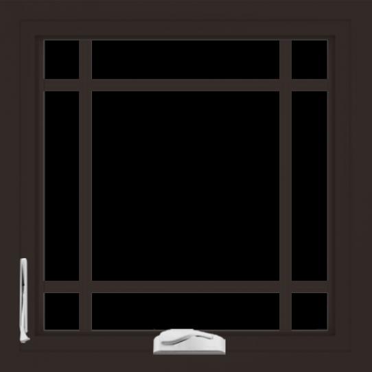 WDMA 24x24 (23.5 x 23.5 inch) Dark Bronze Aluminum Crank out Casement Window with Prairie Grilles