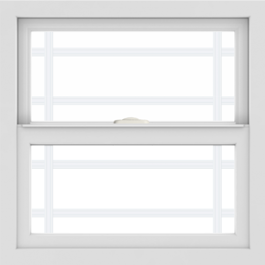 WDMA 24x24 (23.5 x 23.5 inch) White uPVC/Vinyl Single and Double Hung Window with Prairie Grilles