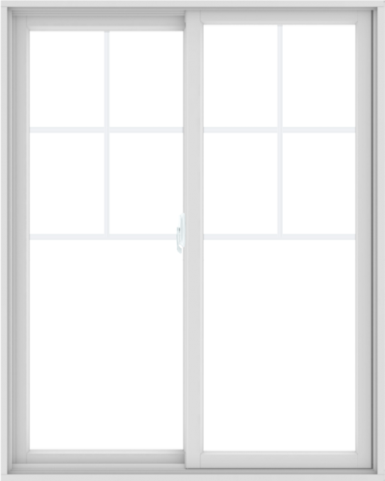WDMA 48X60 (47.5 x 59.5 inch) White uPVC/Vinyl Sliding Window with Top Colonial Grids Grilles